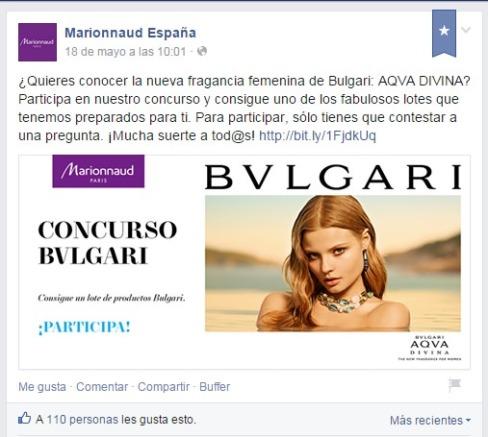 Concurso Marionnaud en Facebook