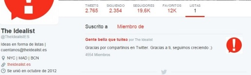 Ejemplo lista Twitter The idealist